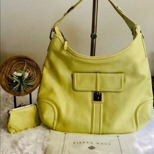 Eileen West Large Leather Hobo in Lime USED